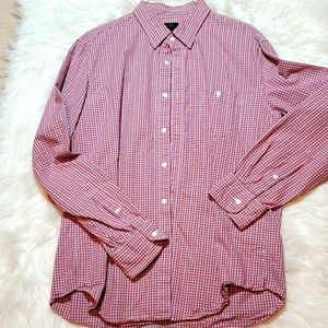 J. Crew red gray and white button down shirt L